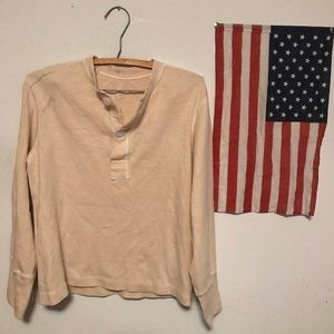🔥VINTAGE Military Thermal Henley Button Down